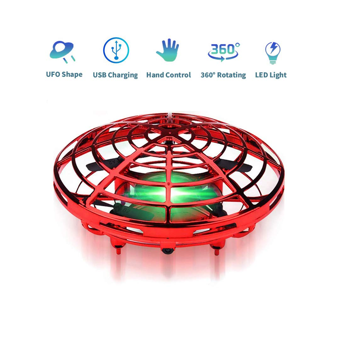 MuD-A Flying Ball Toy Drones,Hand Operated Drones for Kids or Adults - Scoot Flying Ball Drone,with 360°Rotating and Flashing LED Lights Mini Drone,for Boys and Girls, Kids Gifts (Red) by MuD-A (Image #1)