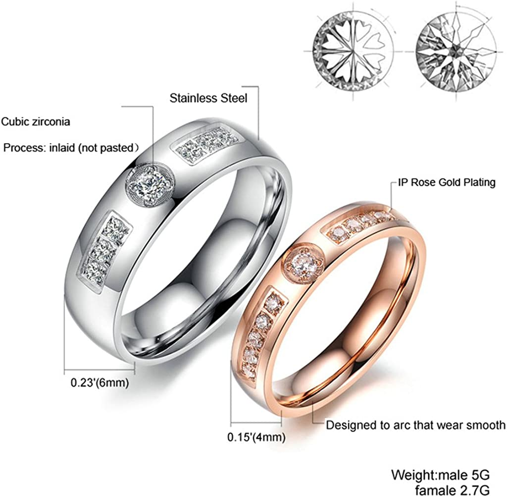 Bishilin Silver Plated Cubic Zirconia Inlaid Women Wedding Ring Set Infinity Size 7
