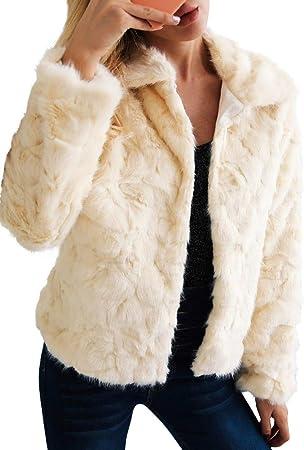 Romacci Abrigo de Piel sintética de Las Mujeres Chaqueta de Mangas largas Turn-Down Collar Furry Casual Overvest Outwear