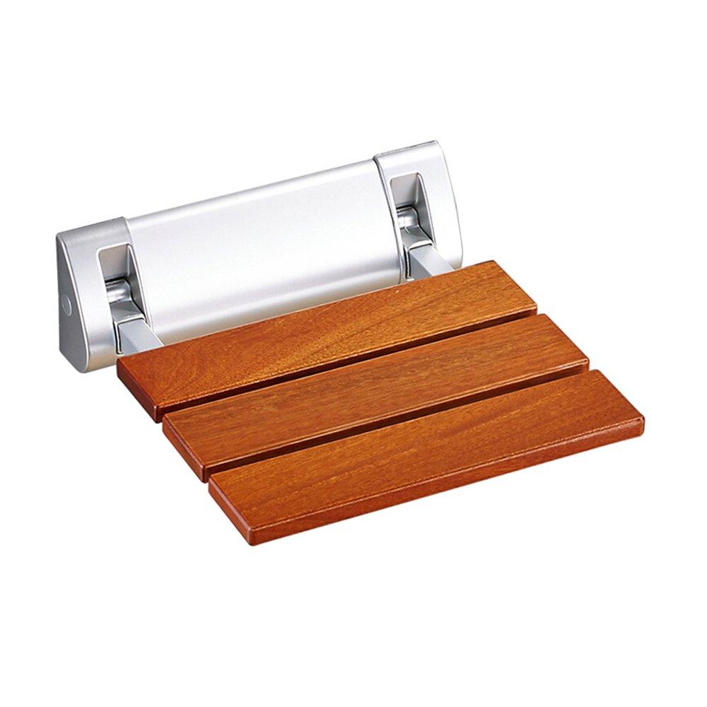 無垢材浴室折りたたみシャワーシート/シャワースツールノンスリップ古い人は安全な壁の椅子/壁掛けのバススツール - アルミニウム合金固定ベース B07DKBKL3H