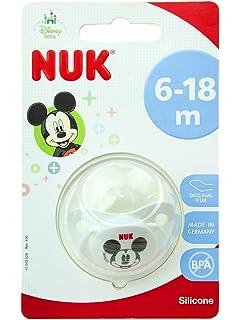 NUK 2 chupetes Disney de silicona 6 - 18 meses + cadena roja Porta ...