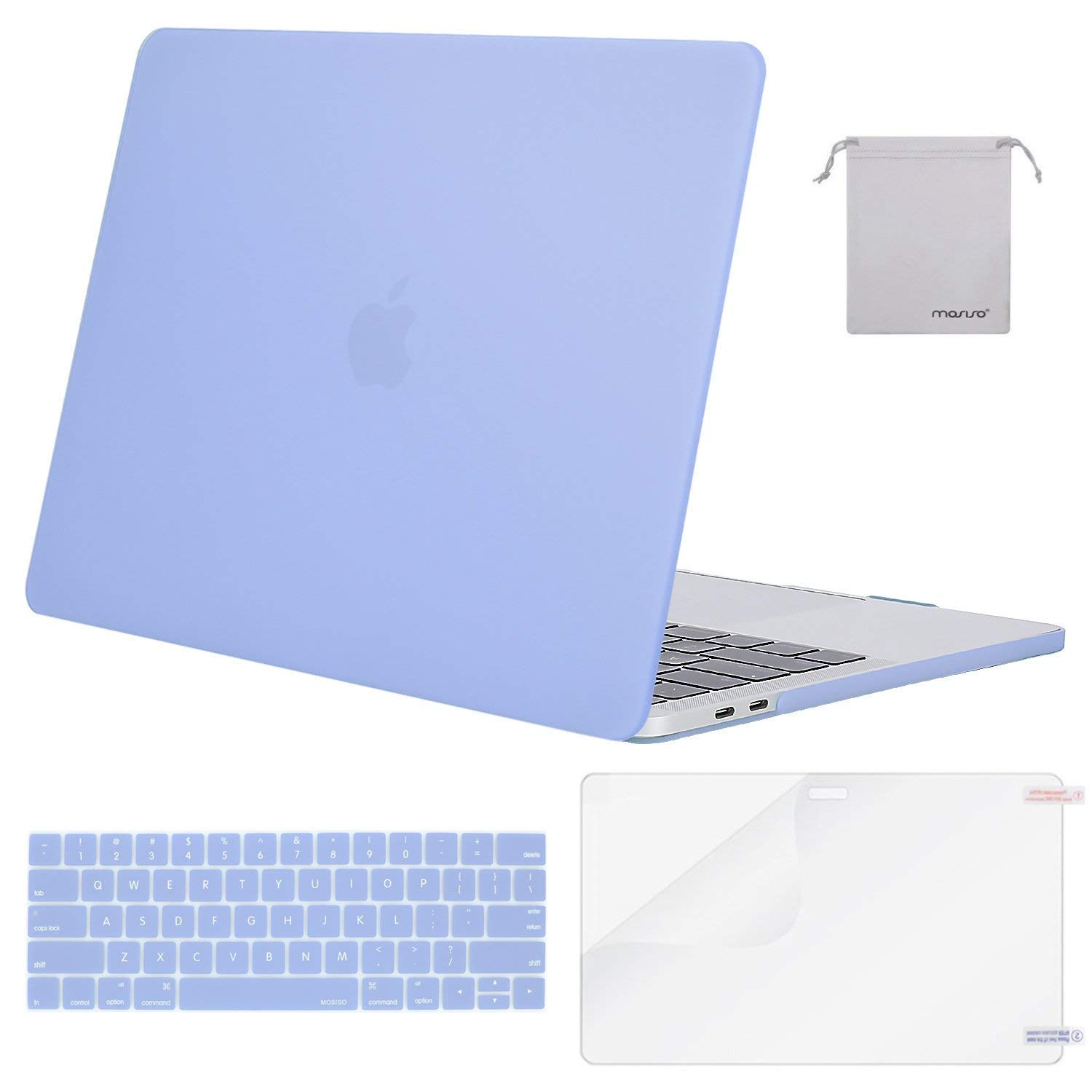 Mosiso MacBook Pro 15 Case 2018 2017 2016 Release A1990/A1707, Plastic Hard Shell with Keyboard Cover with Screen Protector with Storage Bag for Newest MacBook Pro 15 inch with Touch Bar, Navy Blue