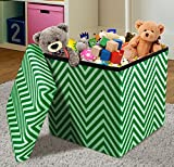 Sorbus Chevron Storage Ottoman Cube – Foldable/ Collapsible with Lid Cover – Perfect Hassock, Foot Stool, Toy Storage Chest, and more (Small-Ottoman, Chevron Green)