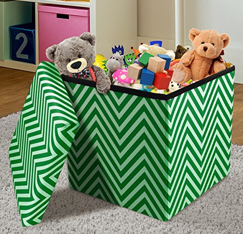 Sorbus Chevron Storage Ottoman Cube – Foldable/ Collapsible with Lid Cover – Perfect Hassock, Foot Stool, Toy Storage Chest, and more (Small-Ottoman, Chevron Green) (Ottomans Cheap Online)
