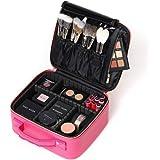 ROWNYEON Makeup Bag PU Leather Makeup Case Travel Makeup Bag Makeup Organizer Bag (Pink Small)