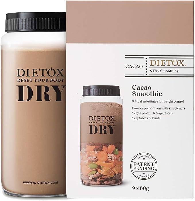 Dietox Dry Smoothies | Batidos de Proteínas Veganos Sustitutivos de comidas sabor Cacao 9 x 60gr
