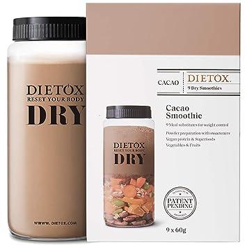 Dietox Dry Smoothies   Batidos de Proteínas Veganos Sustitutivos de comidas sabor Cacao 9 x 60gr