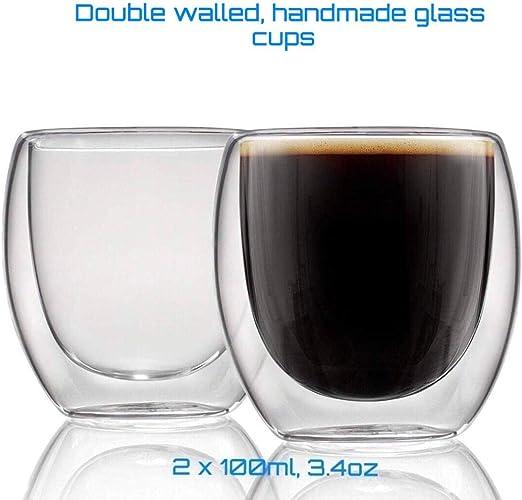 Mug Cup coffee//tea Set of 2x Handmade Double Wall Thermo Glass Gift Box