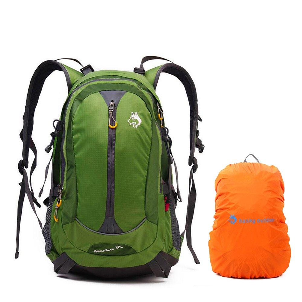 King 30L Waterproof Wanderruju NGLE Zip-Up Rucksack Camping Backpack with Raincover Running Outdoor Cycling CY 3128 Grün Jungleking