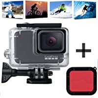 Echodee Waterproof Housing Shell for GoPro Hero 7 White/Silver, 60M Diving Protective Housing Case with Red Filter and Bracket Accessories for Go Pro Hero 7 Action Camera
