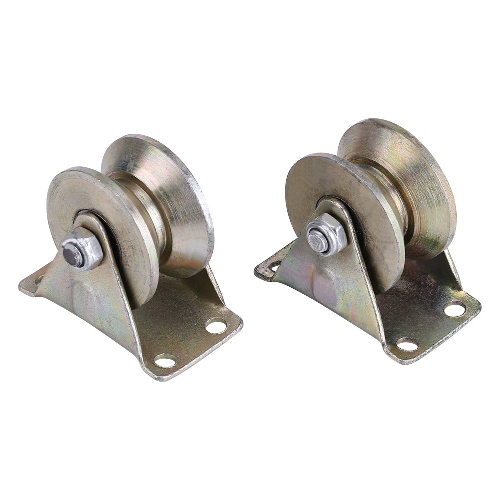 no noise and smooth operation Can ease the vibration Zunate 2 Pcs Sliding Gate Roller Steel,Sliding Gate Roller Steel V Type Wheel w//Bracket