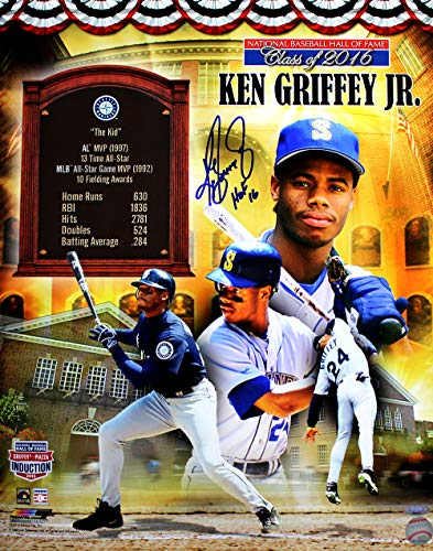 Signed 16x20 Hall Of Fame - Ken Griffey Jr. Signed Autographed Hall of Fame Commemorative 16x20 Photo Inscribed HOF 16 TRISTAR COA