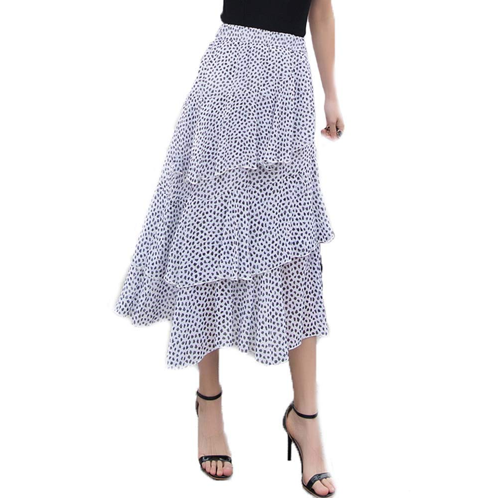 DTDYG18 Women's Pleated Chiffon A-Line Layered Midi Skirt Casual