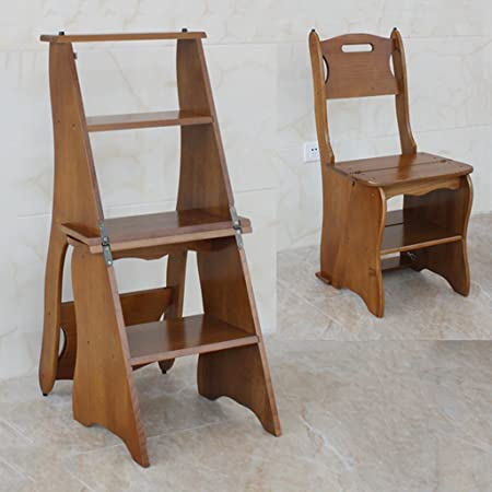 WSSF- Staircase Stool Durable Pine Wood Dual-use Climb High Stool ...
