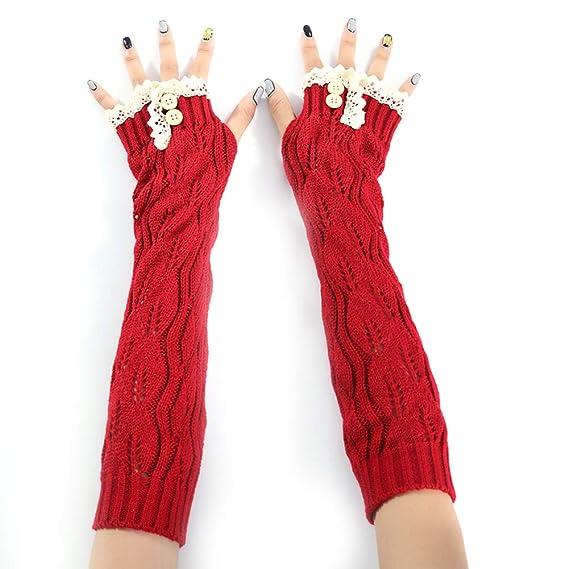 Ouken Ouken Frauen gestrickte lange Handschuh Lady Mädchen ...