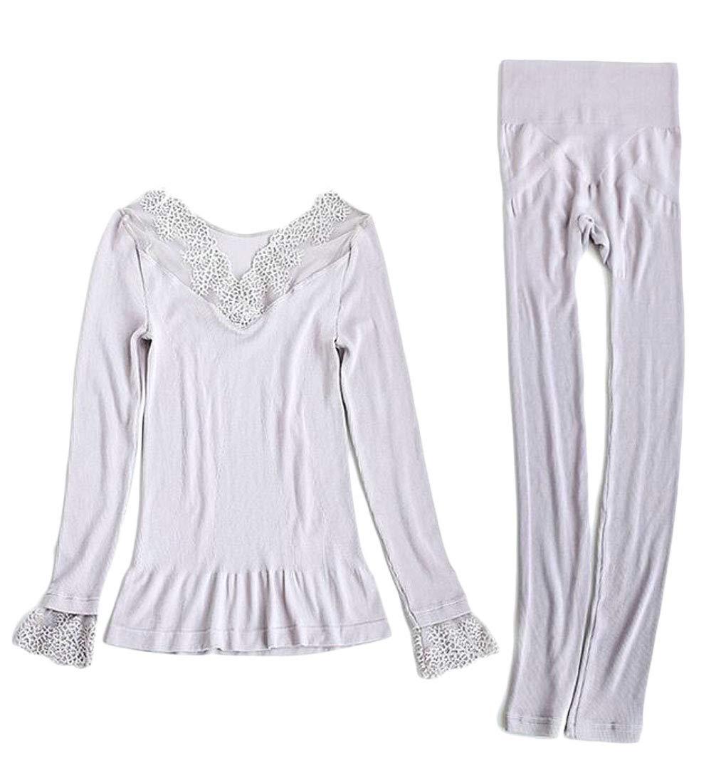X-Future Womens Lace Stitch 2-Piece Stretch Underwear Set Tummy Control Top & Bottom Light Purple OS by X-Future