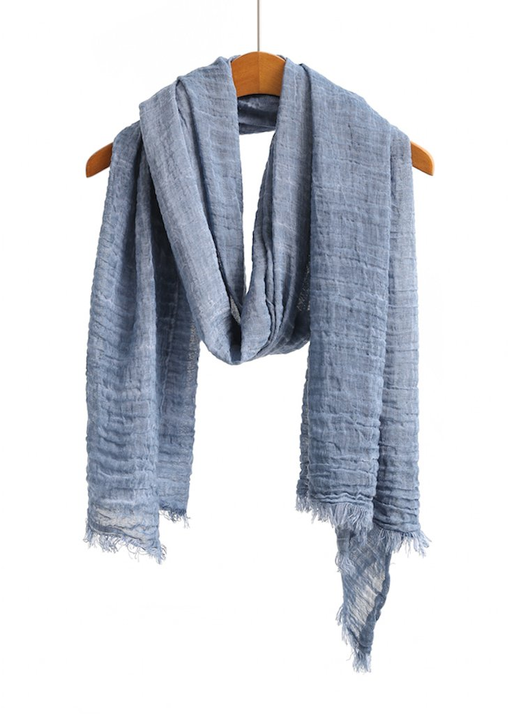 WS Natural Scarf/Shawl/Wrap Men and Women Linen Feel Scarves (Blue Original)