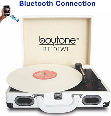 3-Speed Bluetooth Suitcase Record Player Turntable  FM Radio//USB to MP3 Recorder