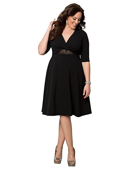 Kiyonna Womens Plus Size Peek A Boo Perfection Dress 3x Onyx