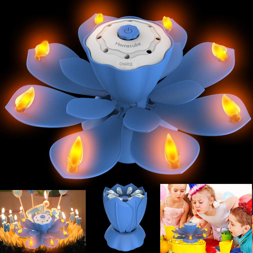 LED Birthday Candles, Flameless Flickering Musical Birthday Candles with 3 Adjustable Flash Modes, Rotatable Lotus Cake Candles with BLOW OUT Design for Birthday Party, Christmas Decoration (Blue)