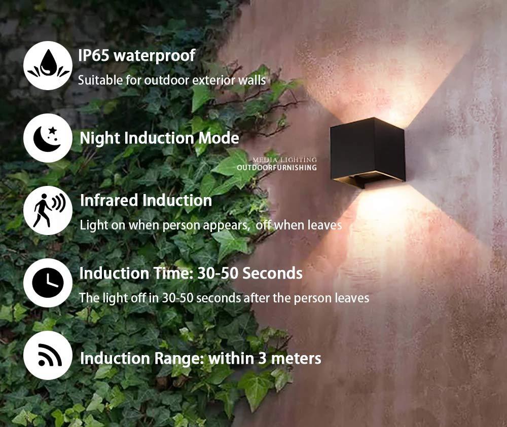 7W lumi/ère ti/ède applique murale pour Int/érieur et ext/érieur Lampe /à induction LED angle de lumi/ère r/églable applique murale /étanche en aluminium 85-265V 3000K