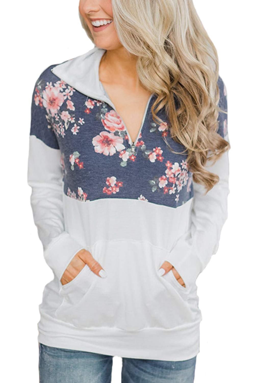 Assivia Womens Floral Print Sweatshirt Casual Pullovers Round Neck Long Sleeve Tops