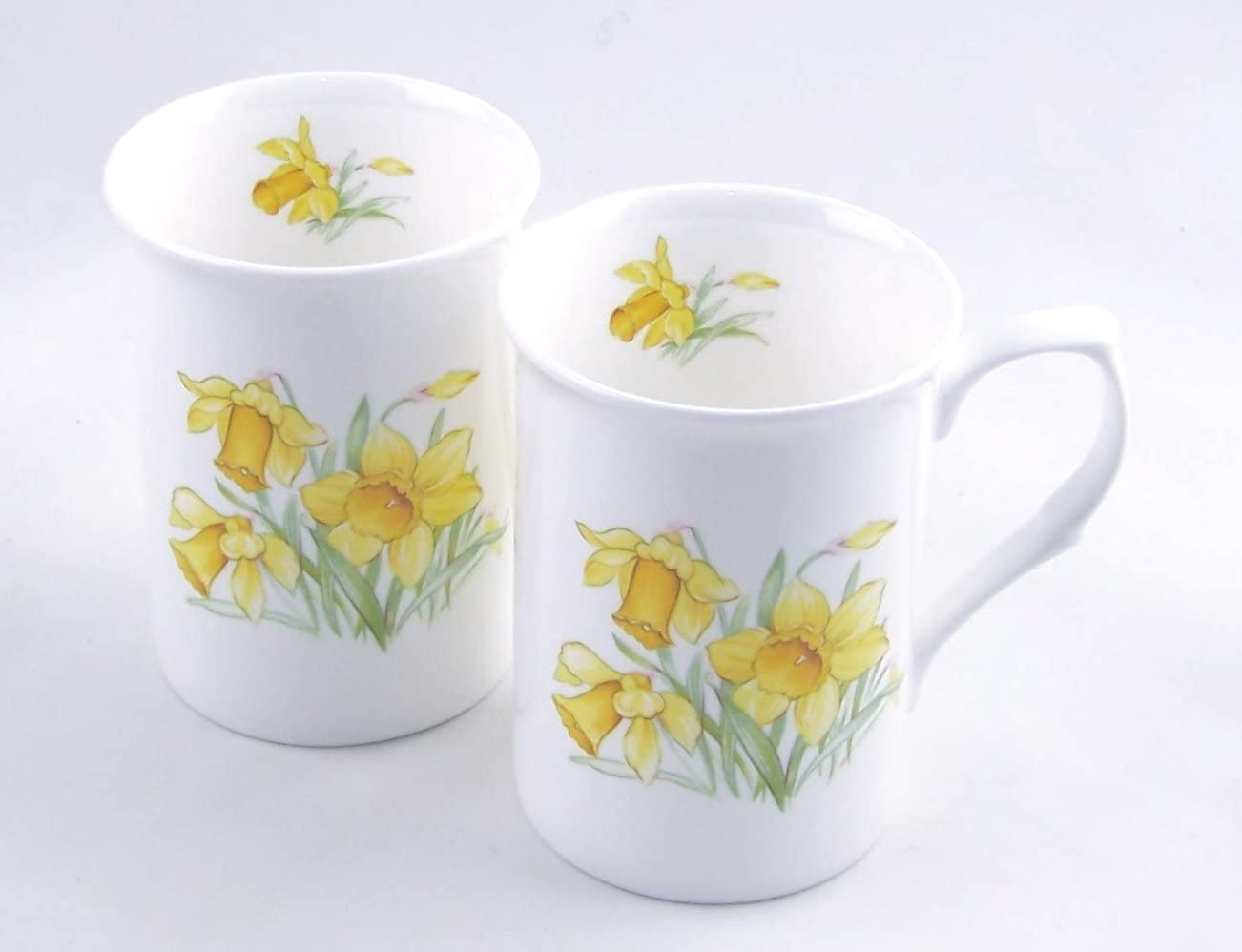 Pair Fine English Bone China Mugs - Daffodil Chintz - Staffordshire, England