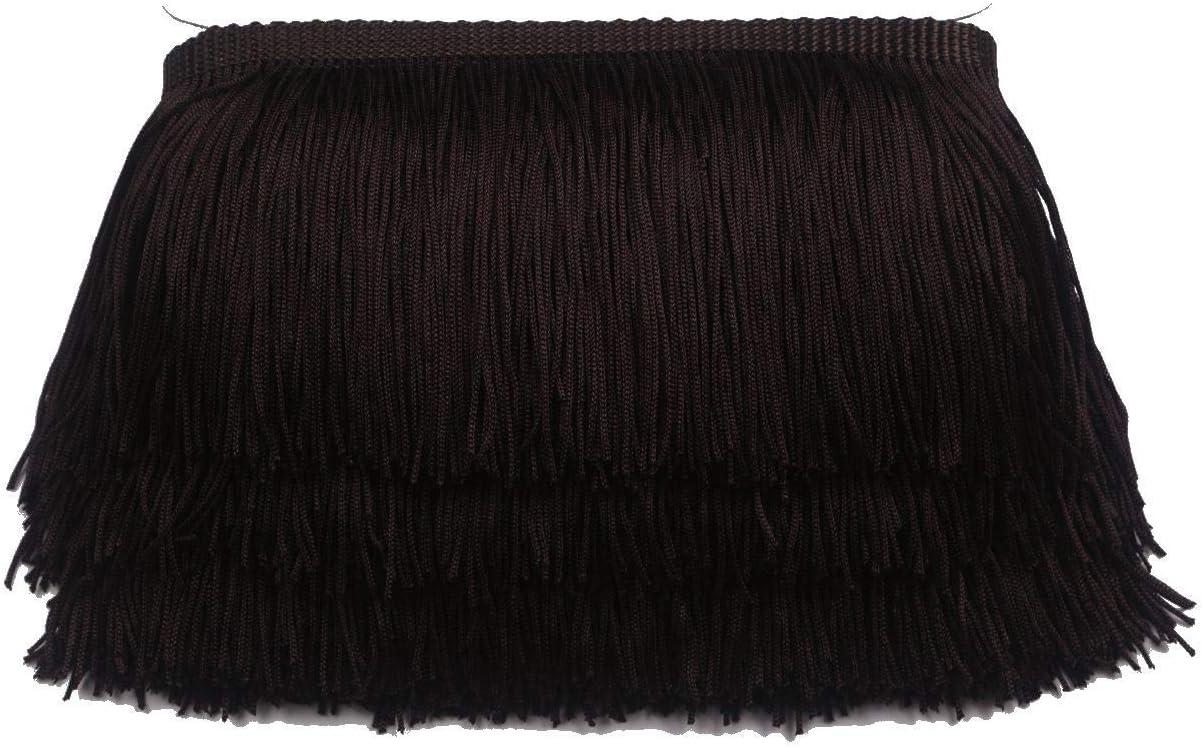 Black KOLIGHT 10yards Width 6inch Polyester Lace Tassel Fringe Trim Decoration for Latin Dress Stage Clothes Lamp Shade