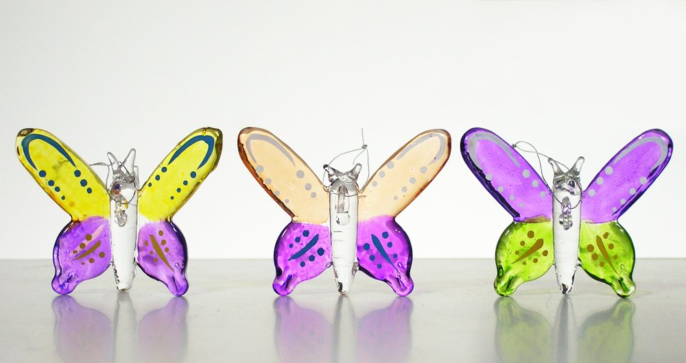 Set of 3 Colorful Glass Butterfly Christmas Ornaments