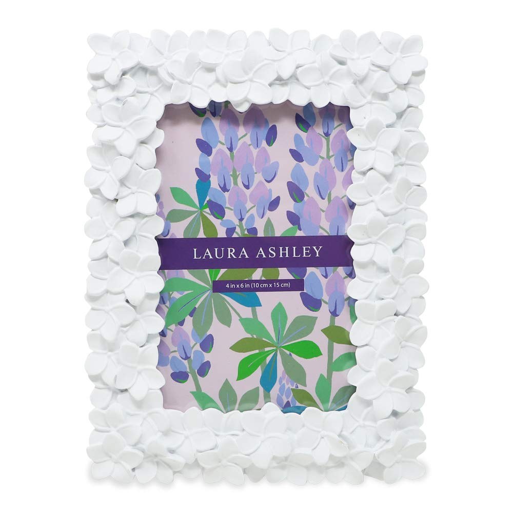 Laura Ashley White Flower Resin Picture Frame (4x6, White) by Laura Ashley