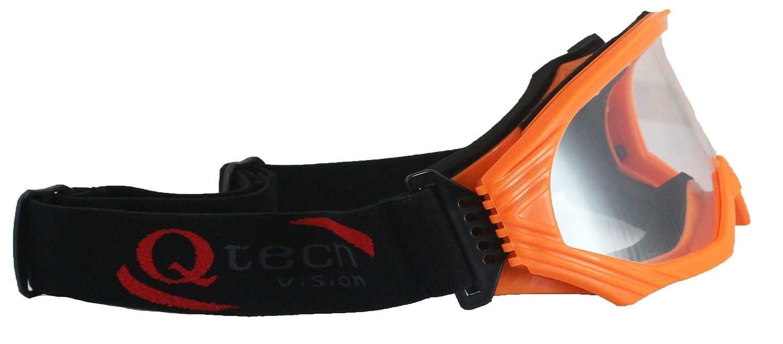 Qtech Adjustable Kids X1 GOGGLES Motocross ATV Racing Mx Dirt Bike with Anti Scratch clear Lens BLACK