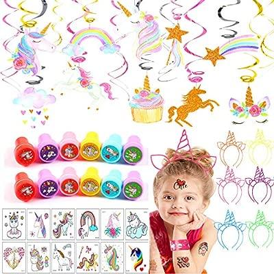 vamei Unicornio Cumpleaños Tatuajes Temporales Niños Slap Pulsera de Goma Unicornio Pulsera Unicornio Anillo Unicornio Tatuajes temporales Niños Niñas ...