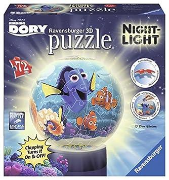 Ravensburger 11790 Findet Nemo: Findet Dori 72 Teile Puzzleball für Kinder, mit Beleuchtung