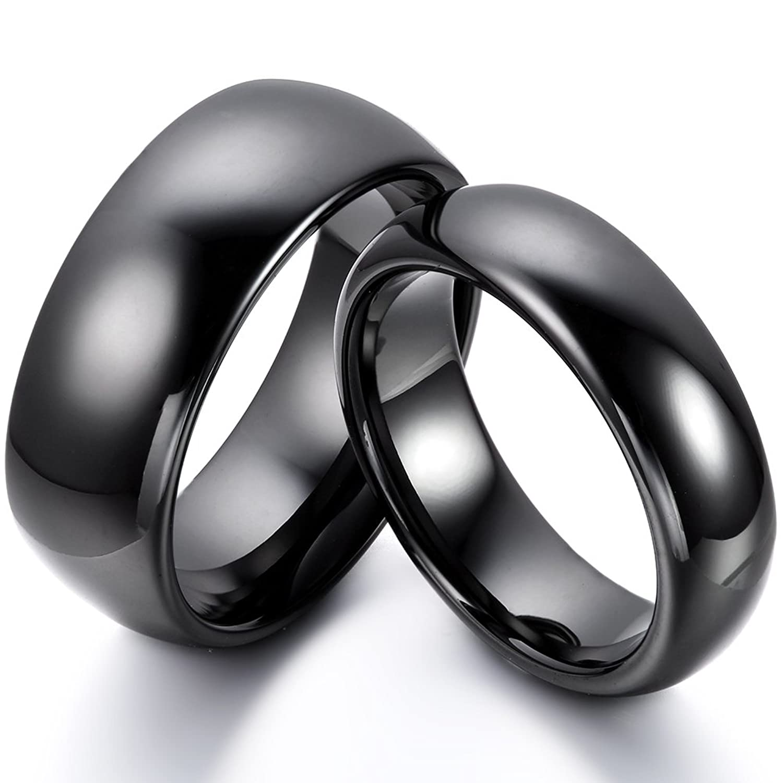 Partnerringe schwarz keramik  JewelryWe Schmuck 6mm Breite Keramik Damen-Ring Schwarz poliert ...