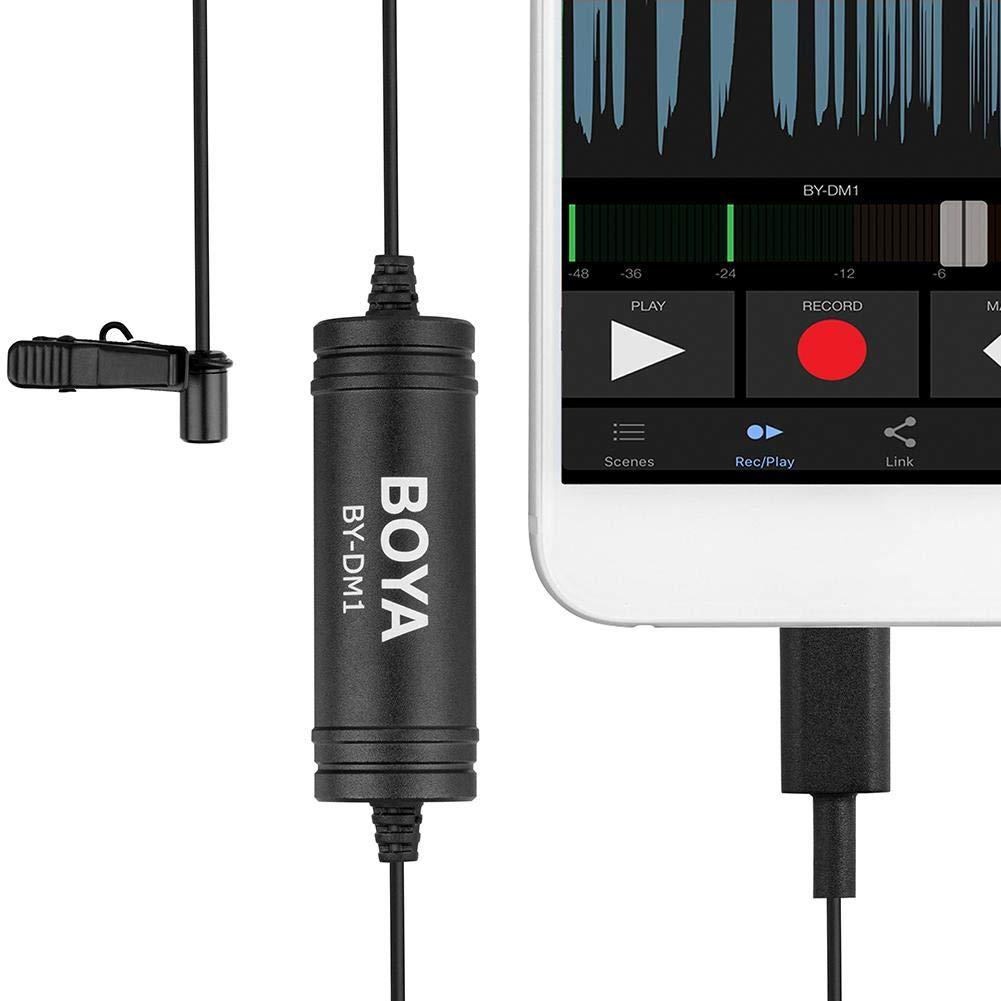 Enjoyall Microphone Lavalier iPod Touch iPad BOYA by-DM1 6m Microphone Lavalier Num/érique Omnidirectionnel pour iPhone