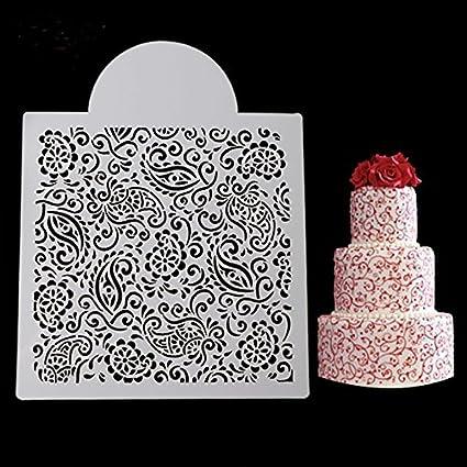 SEPTEMBER Fondant Ice Cream Mesh Stencil Mold Wedding Cake Decorating Baking Tools Sugar