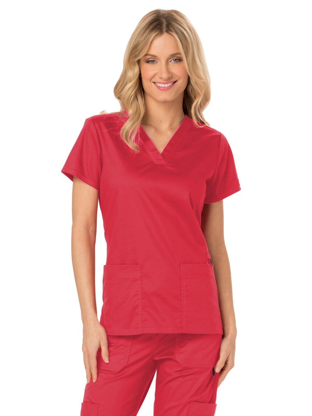 Dickies Gen Flex Women's V-Neck Solid Scrub Top Large Crimson