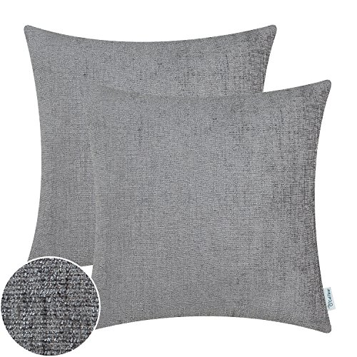 CaliTime Pack of 2 Cozy Throw Pillow Covers Cases for Couch Sofa Home Decoration Solid Dyed Soft Chenille 20 X 20 Inches Medium Grey