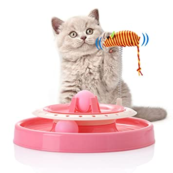 Amazon.com : YUDOTE Scratcher Cat Toy - Tower of Tracks Cat Toys with Catnip Balls and Mice, Interactive Toy for Kitty (Pink) : Pet Supplies