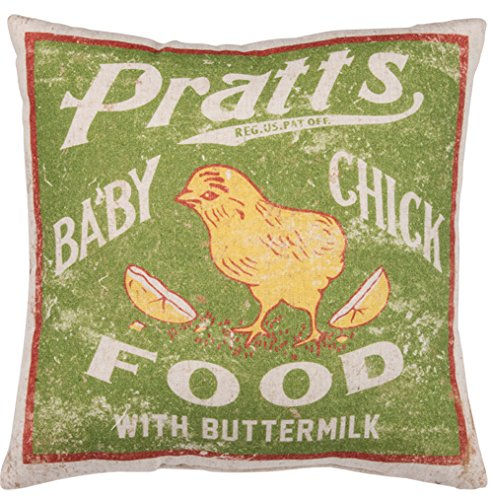 Primitives by Kathy Vintage Feed Sack Style Baby Chick Food Throw Pillow, 12-Inch (Vintage Feed)