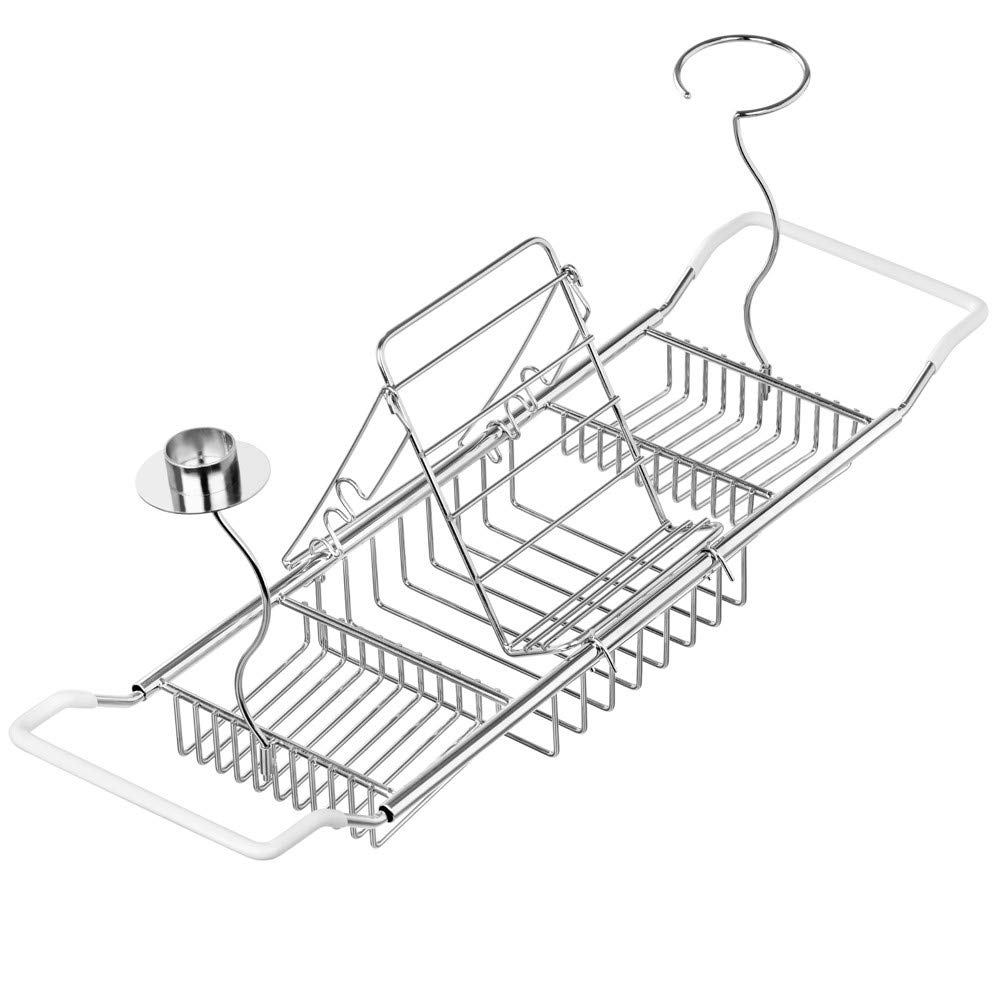 SANNO Bathtub Tray Bath Caddy, Stainless Steel Tub Caddy Rack & Organizer with Stand for Book, iPad or Phone - Candle Holder,Wine Holders