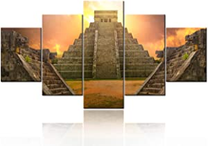 Ancient Mexico Aztec Artwork for Wall Ancient City of Teotihuacan Pictures Mayan Sunset Painting 5 Panel Canvas Wall Art Living Room House Decor Framed Ready to Hang Poster and Prints(60''W x 32''H)