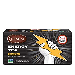 Celestial Seasonings Black Tea, Energy Black Tea with Caffeine , 12 Count (Pack of 6)