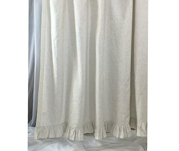 Amazon Linen Ticking Striped Shower Curtain With Self Ruffles 72x72 72x85 72x94 Bathroom Decor Handmade