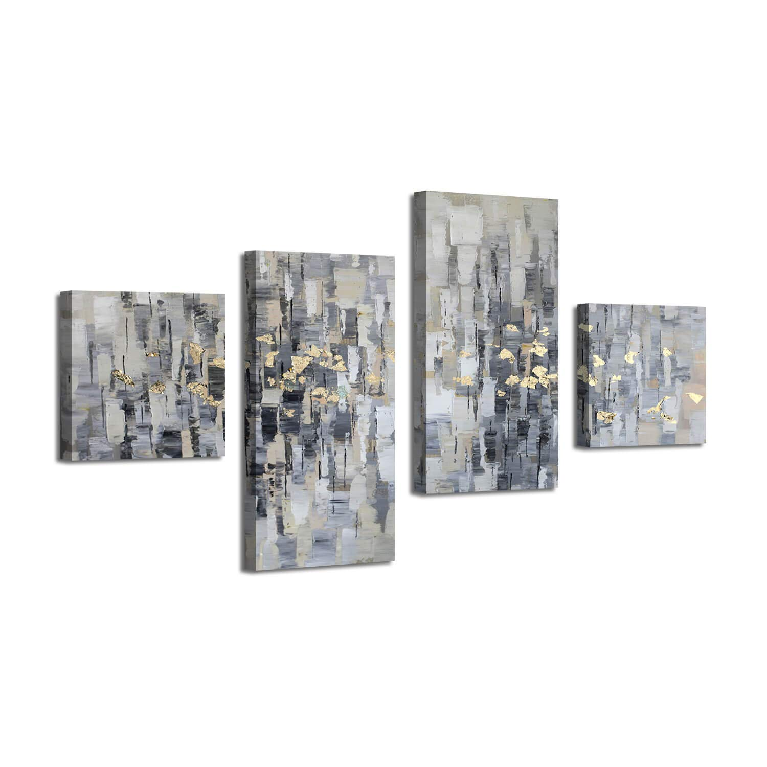 Artistic Path Abstract Canvas Picture Wall Art: Gray Artwork Gold Foil Painting for Living Room Office (32'' x 16'' x 2 Panels + 16'' x 16'' x 2 Panels)