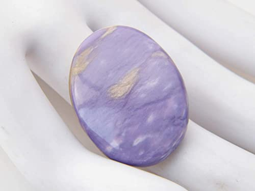 37x12x4.5mm 23Ct Natural Charoite Gemstone SKU-9321 Oval Shape Cabochon for Jewelry Making The Best Jwellery Charoite Cabochon