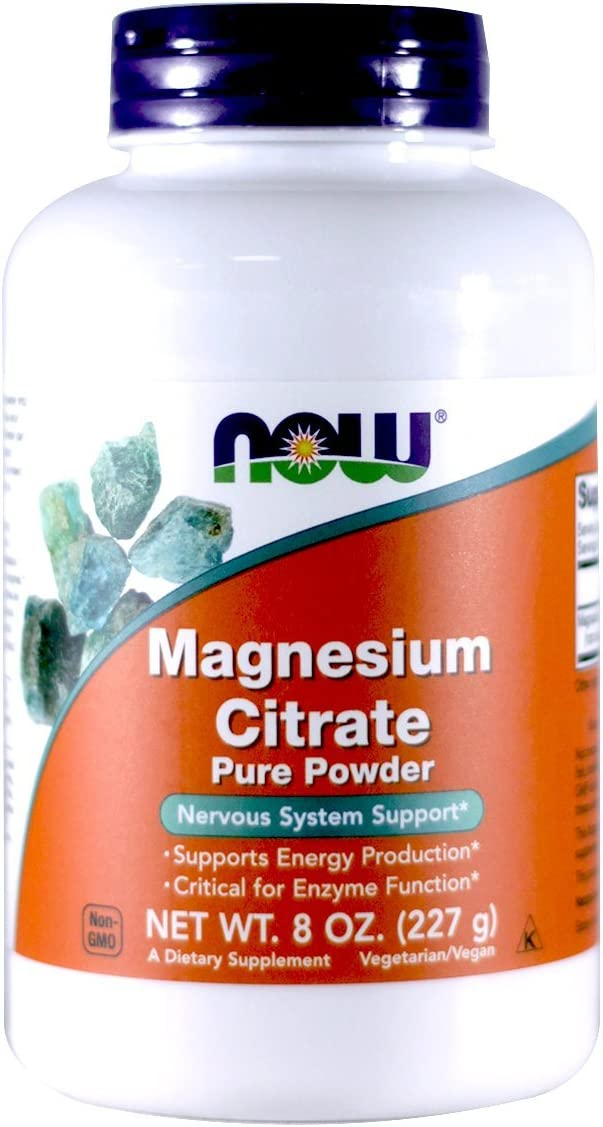 NOW Magnesium Citrate Powder, 8 Ounces (Pack of 2)