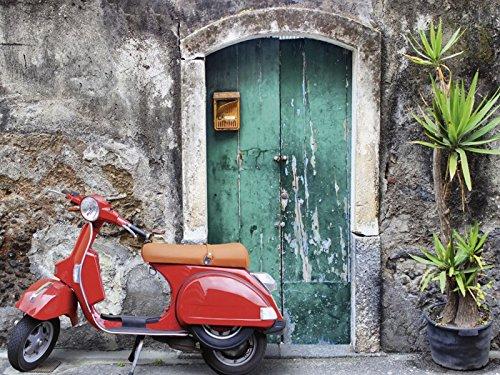 Artland Qualitätsbilder I Bild auf Leinwand Leinwandbilder Evgenia Smirnova Roter Motorroller Fahrzeuge Motorräder & Roller Fotografie Grau A5RA
