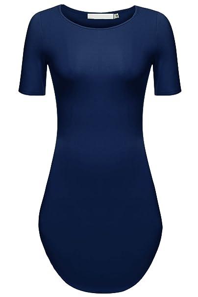 a05a880660c8 Zeagoo Women's Sexy Side Slit Short Sleeve Party Beach Mini Dress Long T  Shirts Navy Blue