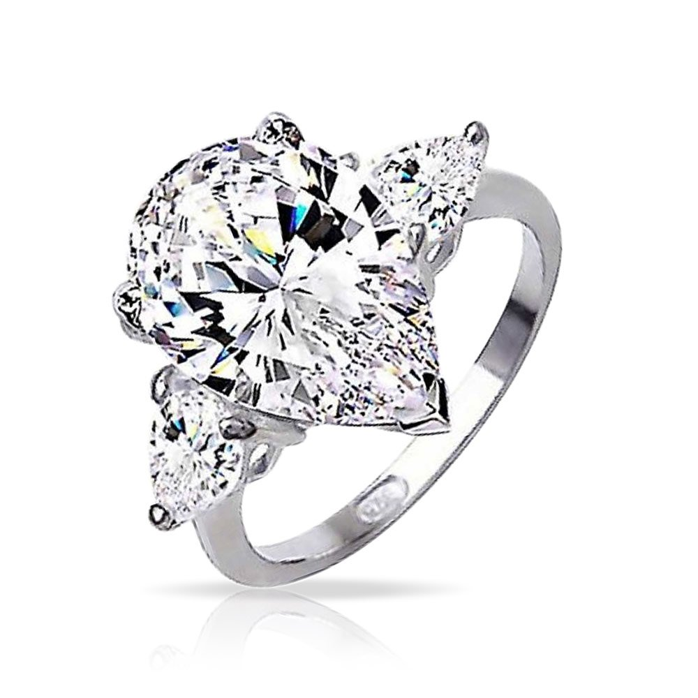 Sterling Silver Classic 3 Stone Pear CZ Engagement Ring